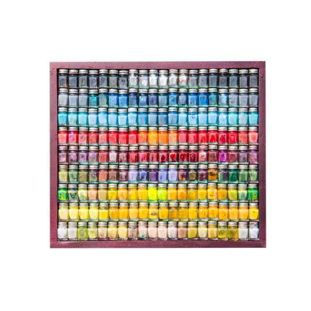 """Spectrum"" Enamel Paint Bottle Framed Collage For Sale"