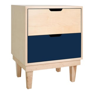 Kabano Modern Kids 2-Drawer Nightstand in Maple With Deep Blue Finish For Sale