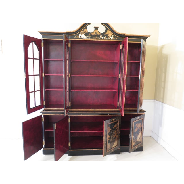 1980s Chinoiserie Decorated 4 Door Breakfront Bookcase For Sale - Image 10 of 13