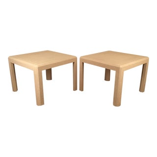 Karl Springer Style Raffia Wrapped Large Side Tables A Pair