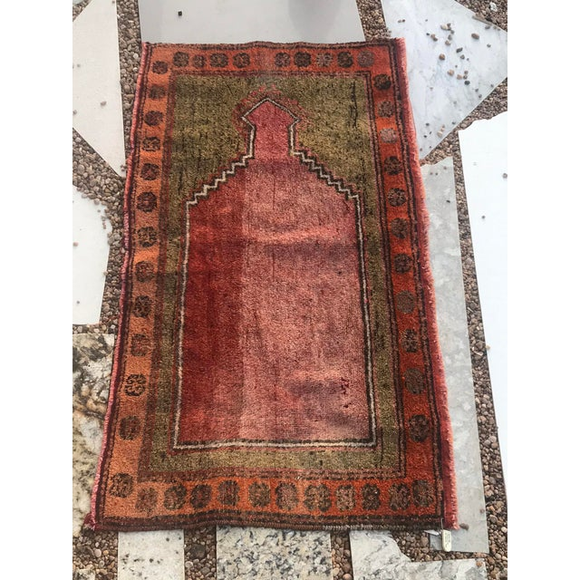 """Islamic Hand Made Vintage Small Turkish Runner- 2'1"""" X 4'5"""" For Sale - Image 3 of 10"""