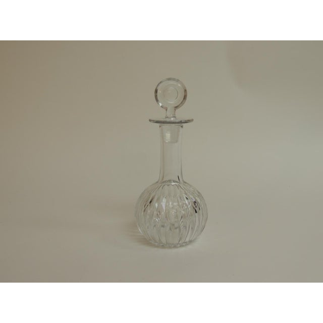 Vintage Cut Crystal Decanter with Round Stopper. Clear cut crystal round decanter with round stopper. 1950's Italian Size;...