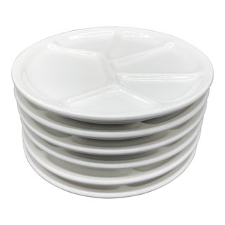 1950s French Vargas White Ceramic Fondue Plates - Set of 6 For Sale