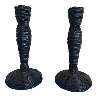 Mid-Century Black Wicker Candlesticks - a Pair For Sale