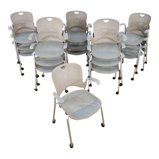 Modern Herman Miller Jeff Weber Design Portable Stackable Caper Side Chairs - Set of 16 For Sale