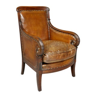 Regency Mahogany and Leather Upholstered Bergere Chair For Sale