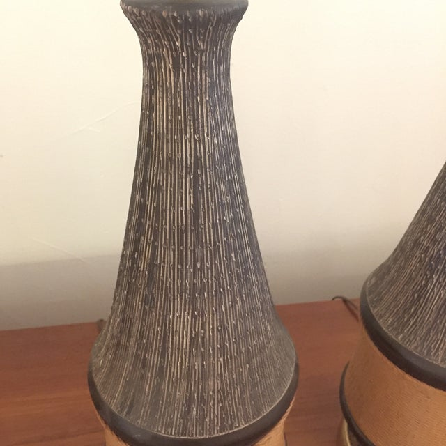 Rope Bitossi Italy Ceramic Rope Lamp, 1960s - A Pair For Sale - Image 7 of 11