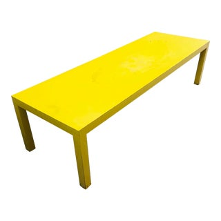 1980s Memphis Yellow Laminate Parsons Coffee Table For Sale