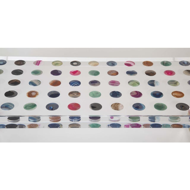 Unique Contemporary Lucite Coffee Table With Agate Inlaid Discs For Sale - Image 9 of 13