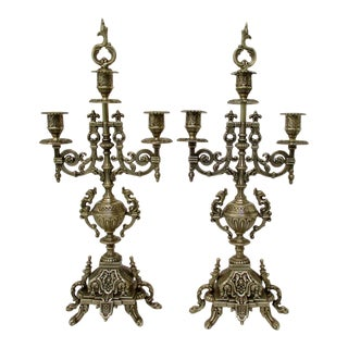 Tall Brass Candelabra - a Pair For Sale