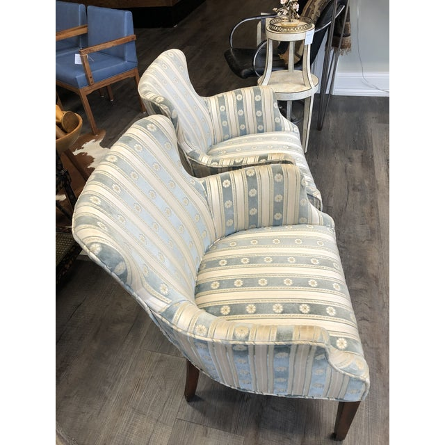 French 1940s Cream & Blue Velvet Boudoir Chairs - a Pair For Sale - Image 3 of 10