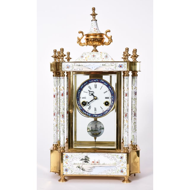 Mid-20th Century Brass Frame Mantel Clock For Sale - Image 11 of 12