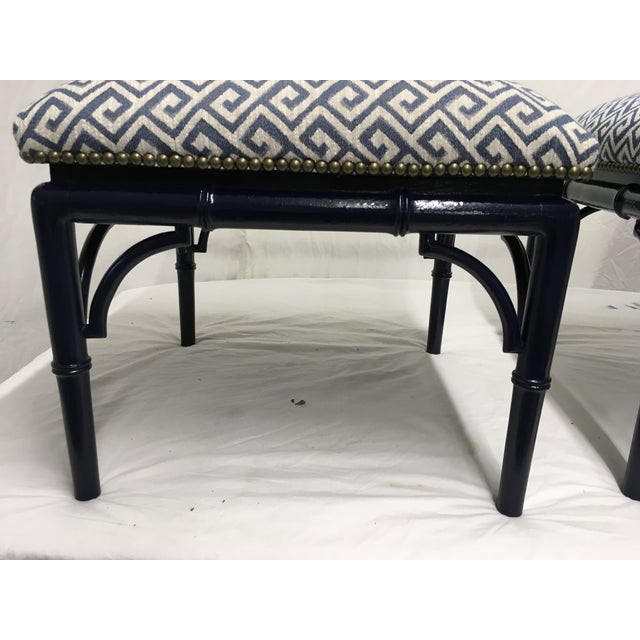 Tomlinson Tomlinson Faux Bamboo Benches, a Pair For Sale - Image 4 of 8