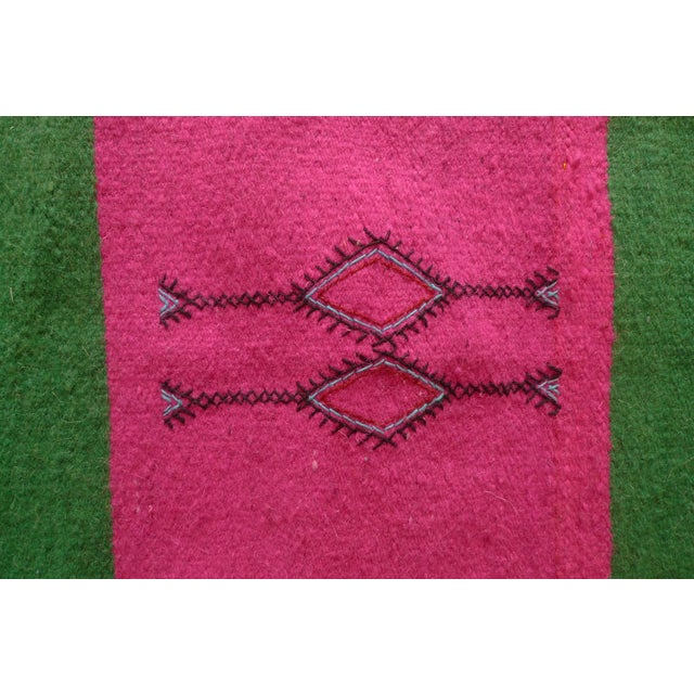 Moroccan Green & Pink Small Wool Rug - 1′9″ × 2′6″ - Image 5 of 6