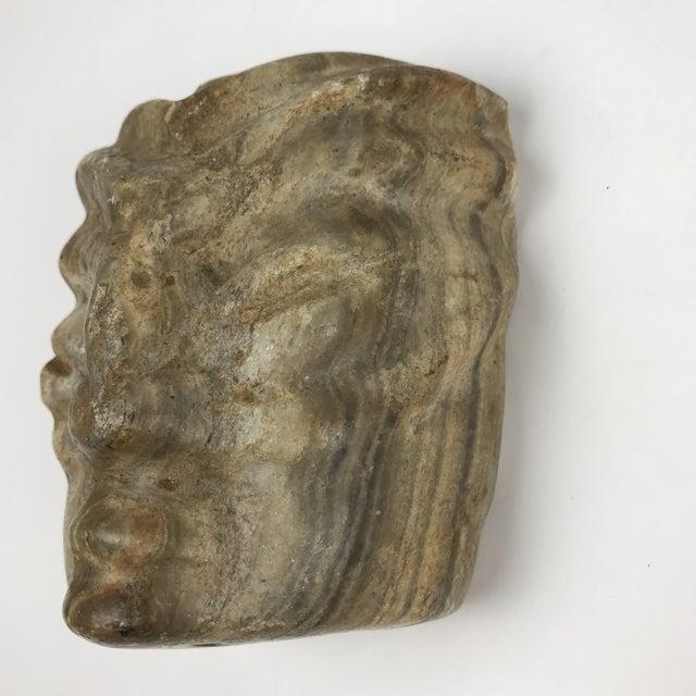 Primitive Carved Face Marble Stone Sculpture