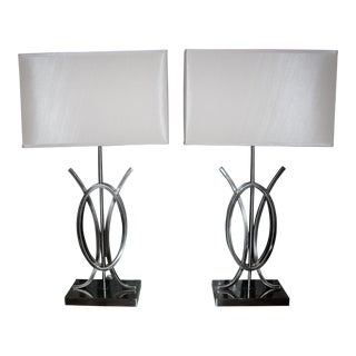 Contemporary Metal Lamps - a Pair For Sale