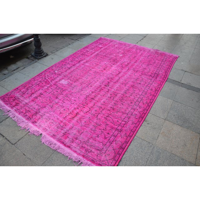 Islamic Fuscia Overdyed Floor Rug - 5′11″ × 8′11″ For Sale - Image 3 of 6