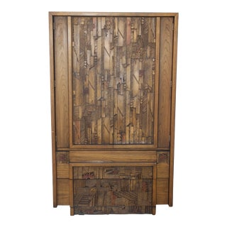1970s Lane Furniture Carved Brutalist Armoire For Sale
