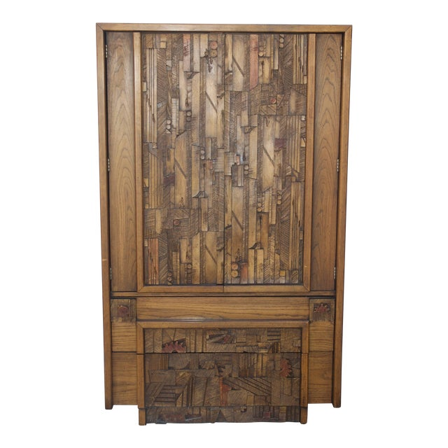 Exquisite 1970s Lane Furniture Carved Brutalist Armoire Decaso