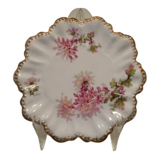 Vintage Limoges France Ruffled Edge Rococo Floral Plate by A. Lanternier