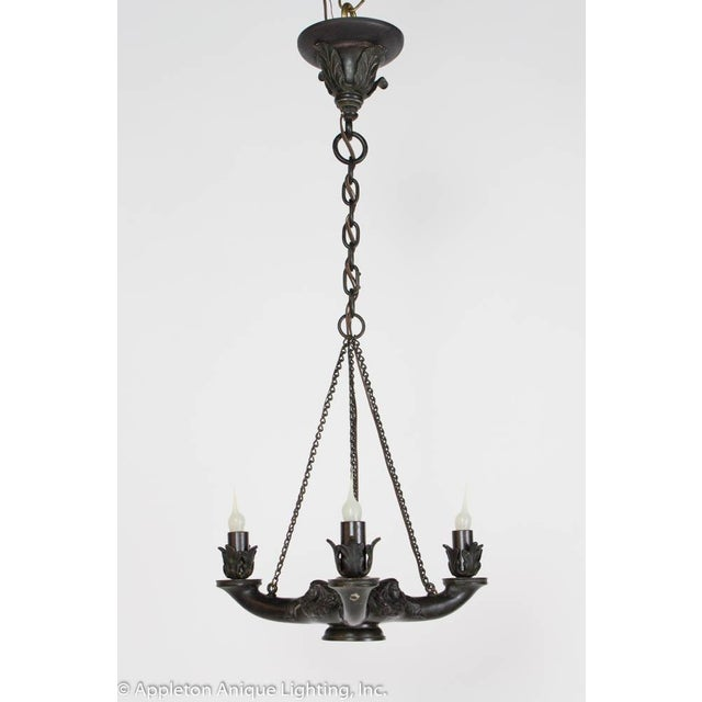 Restored Bronze Three Arm Whale Oil Chandelier For Sale - Image 10 of 10
