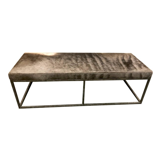 Late 20th Century Vintage Forged Iron and Hide Bench For Sale