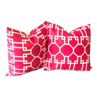 Art Deco Brighton Reverse Trellis Throw Pillows - a Pair For Sale