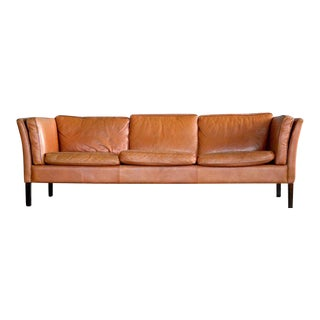 Børge Mogensen Style Danish Three-Seat Leather Sofa in Patinated Cognac Leather For Sale