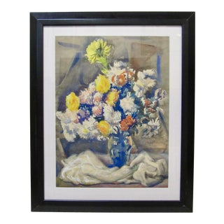 Vintage Ohio Wpa Watercolor Still Life Signed August Biehle For Sale