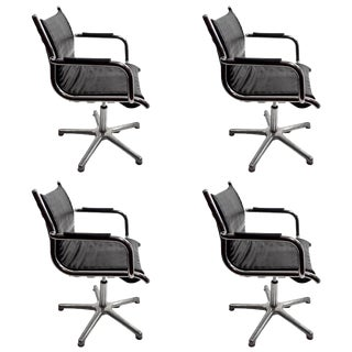 Four Chrome and Black Swivel Chairs by Olymp For Sale