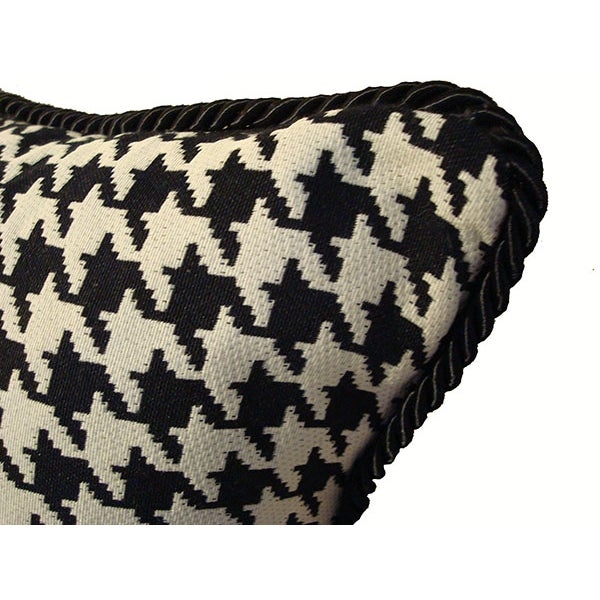 Black and White Houndstooth Down Pillow - Image 2 of 3