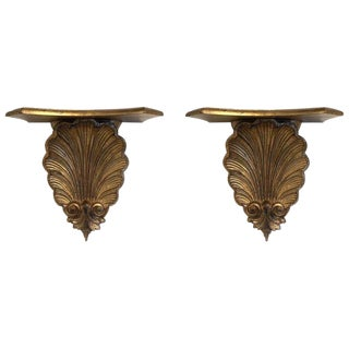 Pair Italian Gold Gilt Wall-Mounting Shelves For Sale
