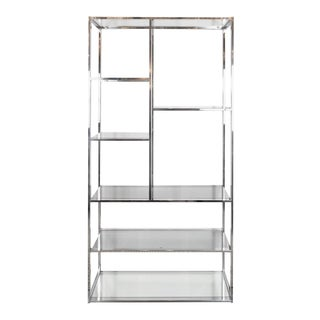 Mid-Century Modernist Chrome, Smoked Glass and Mirror Étagère by Milo Baughman For Sale