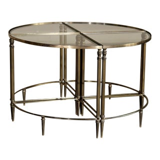 Mid-Century French Solid Brass Sectional Coffee Table Set - 4 Pieces For Sale