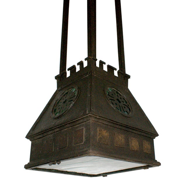 Arts and Crafts Style Hammered Metal Hanging Light For Sale - Image 4 of 6