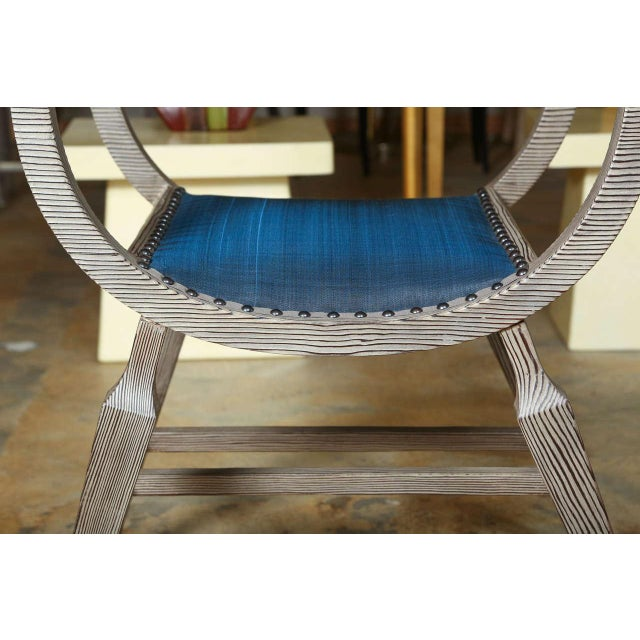 Metal Paul Marra Distressed Fir Bench in Blue Horsehair For Sale - Image 7 of 9