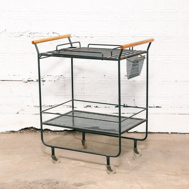 Metal Fredrick Weinberg Style Serving / Bar Cart For Sale - Image 7 of 7