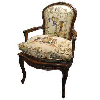French Carved Walnut Fauteuil Chair, Circa 1840's For Sale