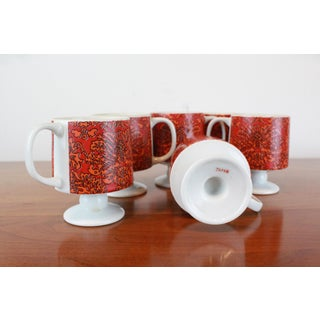 Modernist Red Floral Print Japanese Mugs - Set of 6 Preview