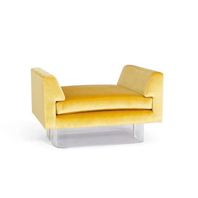 Floating bench, stool or ottoman with arms. Lucite base with yellow silk velvet upholstery. Kagan Omnibus style form.