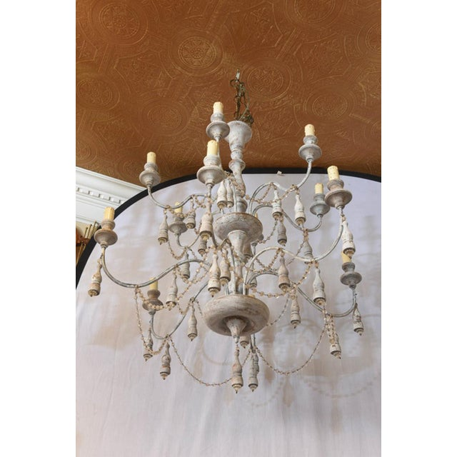 Glass Italian Two-Tier Chandelier Strung with Beads and Tassels For Sale - Image 7 of 8