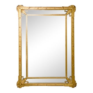 1870 Large French Gilt Wood Mirror For Sale