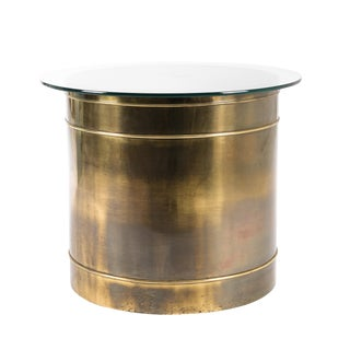 Mastercraft Brass Drum Table For Sale