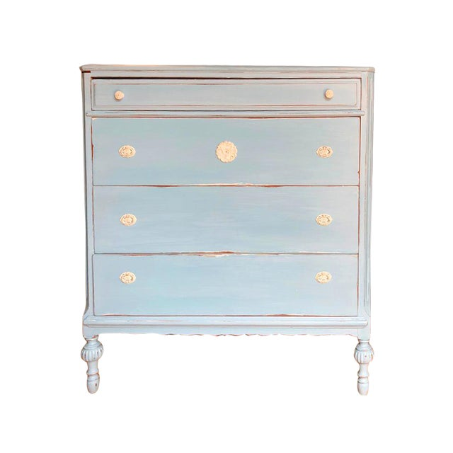 1900 Vintage Chinoiserie Meets French Country Painted Dresser For Sale