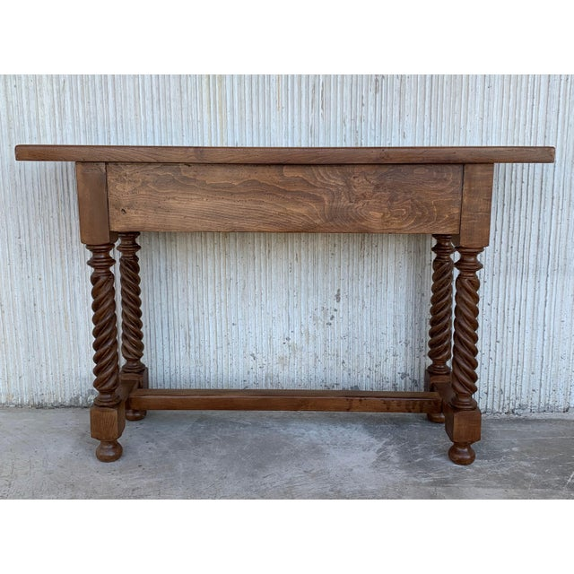 Spanish Baroque Carved Walnut Console Table With Two Drawers, Circa 1860 For Sale In Miami - Image 6 of 13