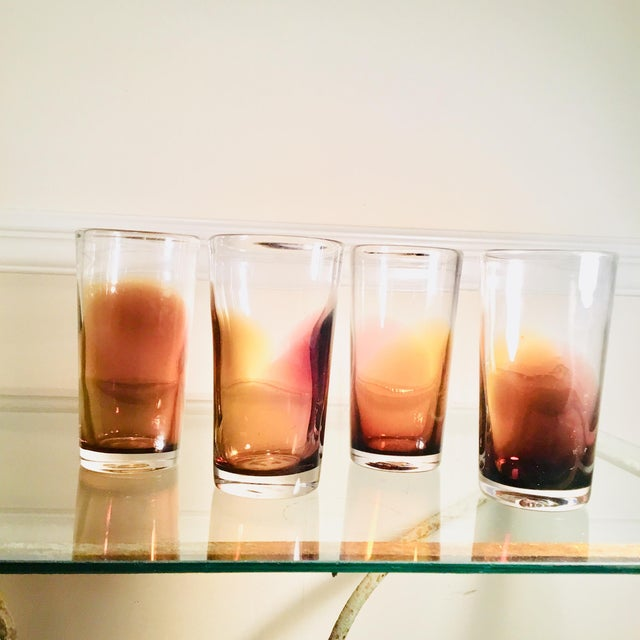 Mid-Century Modern Handblown Golden Bronze Ombre Drinking Glasses - Set of 4 For Sale - Image 3 of 7