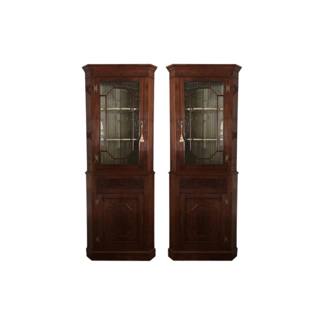 1900s Chippendale Glass Doored Corner Cabinets - a Pair For Sale