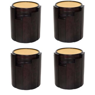 1950s Escudero Modernism Goatskin and Leather Nesting Tables - Set of 4 For Sale