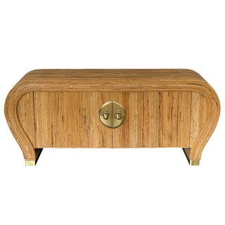 Spit Reed Bamboo and Brass Waterfall Sideboard Cabinet For Sale