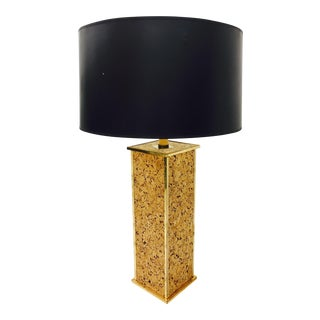 Vintage Cork & Brass Lamp For Sale